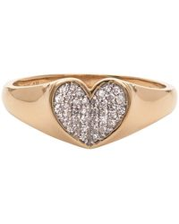 Adina Reyter Gold Diamond Pave Folded Heart Ring - Metallic