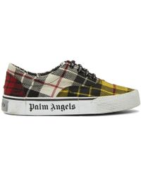 Palm Angels - Yellow Distressed Tartan Sneakers - Lyst