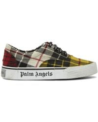 Palm Angels - Yellow Distressed Tartan Trainers - Lyst