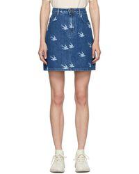 McQ Blue Mcq Swallow Denim Koriki Miniskirt