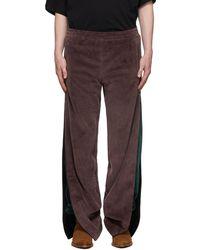 Y. Project Pantalon de survêtement mauve et vert en velventine étagé - Violet