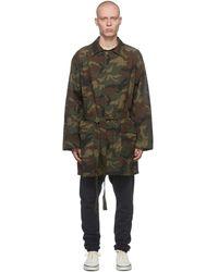 Fear Of God Manteau militaire en coton à motif uflage - Vert