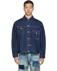 FDMTL Indigo Denim Asymmetrical Jacket - Blue
