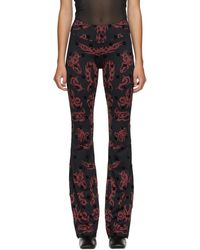 MISBHV Black And Red Monogram Flared Trousers