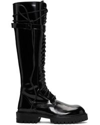 Ann Demeulemeester Ssense Exclusive Black Patent Lace-up Knee-high Boots