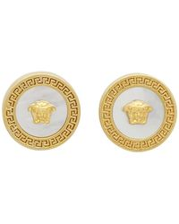 Versace Gold Mother-of-pearl Tribute Earrings - White