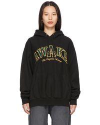 AWAKE NY ブラック Plaid People's Champ ロゴ フーディ