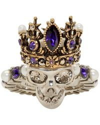 Alexander McQueen - Silver Queen Skull Ring - Lyst