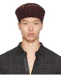 Nicholas Daley Black & Burgundy Hand-crocheted Beret
