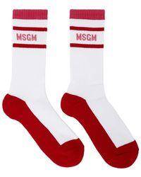 MSGM ホワイト And レッド Collegiate ソックス