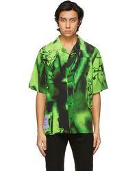 McQ ブラック & グリーン シルク Rave ショート スリーブ シャツ