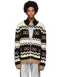 Gucci ブラック ウール ミラー GG ジップアップ セーター