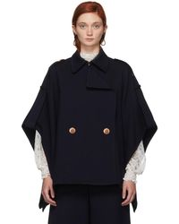 See By Chloé - Navy Cape Coat - Lyst