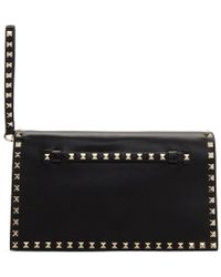 Valentino - Black Small Rockstud Clutch - Lyst