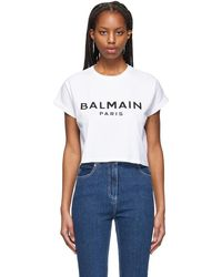 Balmain - ホワイト クロップド ロゴ T シャツ - Lyst