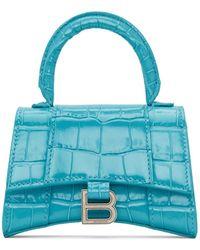 Balenciaga - ブルー クロコ ミニ Hourglass バッグ - Lyst