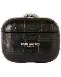 Saint Laurent Etui pour Airpods embosse facon croco a logo noir