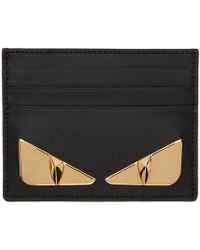Fendi - Black And Gold Bag Bugs Card Holder - Lyst
