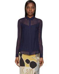 Burberry Prorsum - Bright Navy Sheer Striped Silk Chiffon Shirt - Lyst