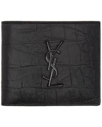 Saint Laurent - Black Croc Monogram East West Wallet - Lyst