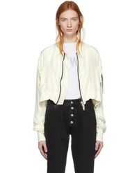 Unravel   Off-white Silk Deconstructed Chop Bomber Jacket   Lyst