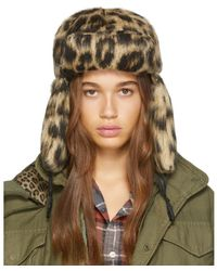 R13 - Beige And Black Leopard Trapper Hat - Lyst