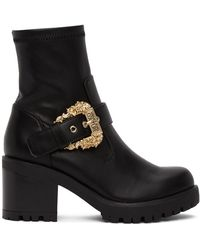 Versace Jeans Couture ブラック Baroque バックル ブーツ