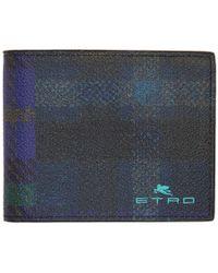 Etro Blue Tartan Classic Wallet