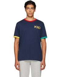Polo Ralph Lauren - ネイビー ロゴ リンガー T シャツ - Lyst