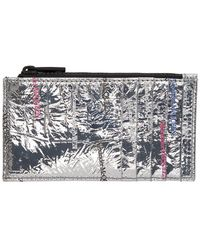 Alexander McQueen Silver Zip Coin Card Holder - Metallic