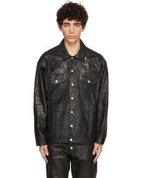 Martine Rose ブラック クロコ オーバーサイズ ジャケット