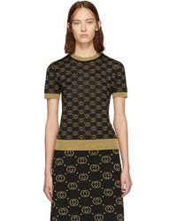 Gucci - ブラック And ゴールド ウール GG セーター - Lyst