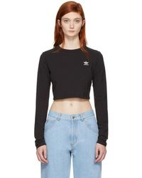 adidas Originals - Black Cropped Styling Complements T-shirt - Lyst