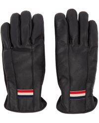 Moncler Black Leather Guanti Gloves
