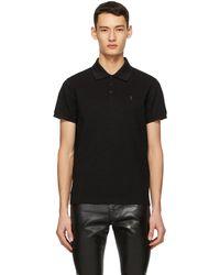 Saint Laurent - ブラック & ゴールド モノグラム ポロシャツ - Lyst