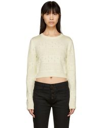 Saint Laurent - Off-white Cropped Fisherman Sweater - Lyst