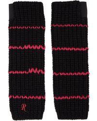 Raf Simons - Black Long Striped Fingerless Gloves - Lyst