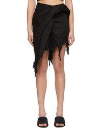 Alexander Wang Denim Draped Miniskirt - Black
