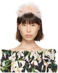 Dolce & Gabbana ピンク シルク Plumeti ヘッドバンド
