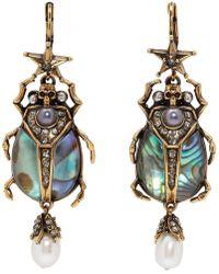 Alexander McQueen - Gold Beetle Earrings - Lyst