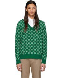 Gucci - グリーン & オフホワイト ウール GG V ネック セーター - Lyst