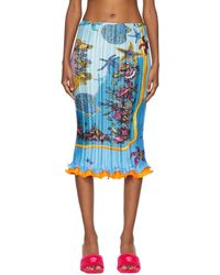 Versace ブルー Trésor De La Mer Plissé スカート