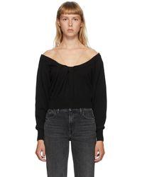 Alexander Wang Draped Neck Pullover Sweater - Black