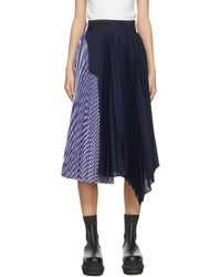 Sacai ネイビー & ブルー スカート