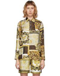 Versace - ホワイトゴールド Barocco Mosaic シャツ - Lyst