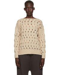 Lauren Manoogian Beige Waves Pullover Sweater - Natural
