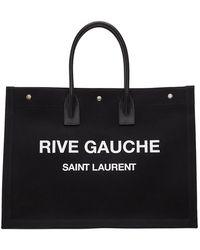 Saint Laurent Rive Gauche Canvas Tote - Black