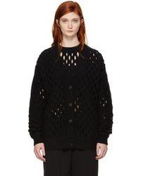 Alexander Wang - Black Oversized Intarsia Fishnet Cardigan - Lyst