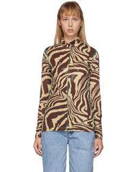 Ganni Col roule brun Foil Jersey Animal Print - Marron