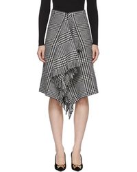 Balenciaga - Black And White Wool Fringe Skirt - Lyst